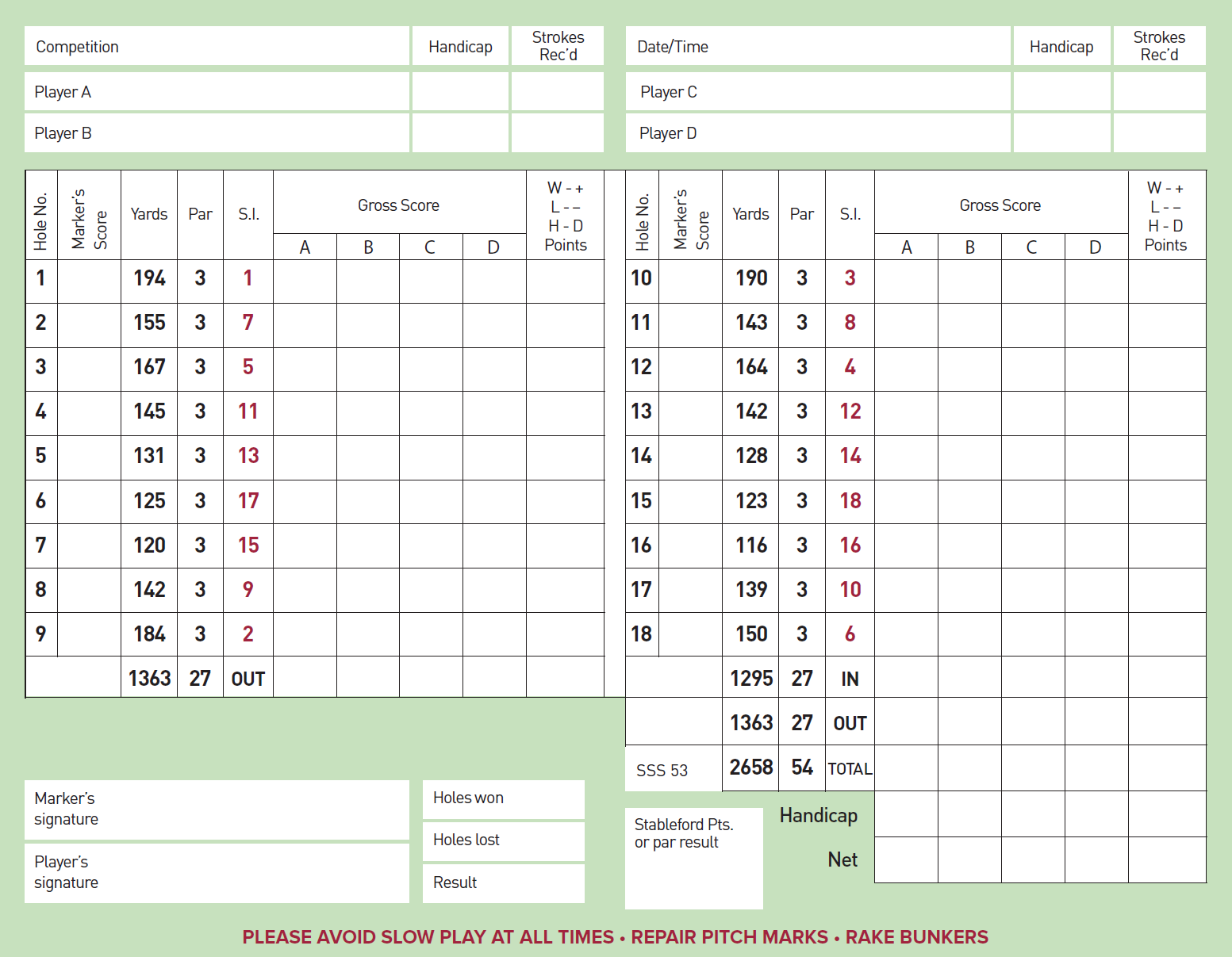 Golf Club Scorecard